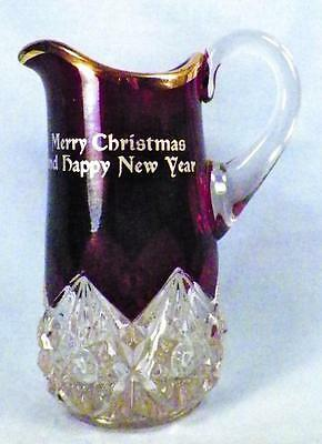 Merry Christmas Creamer Ruby Stain Early American Pattern Glass Diamond with Peg