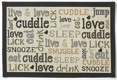 Petrageous Woven Tapestry Non Slip Pet Dinner Placemat Cuddles, 13 X 19-inch