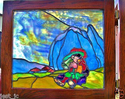 """2 Antique Stain Glass, elf's drinking with colorful surroundings,  28"""" x 25 1/4"""""""