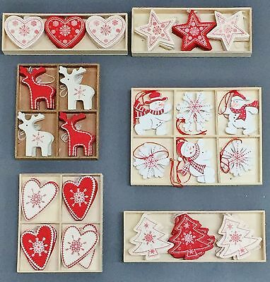Box of Red & Cream Wooden Reindeer Star Tree Heart Christmas Tree Decorations
