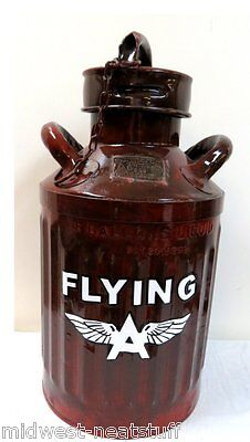 Nice Restored FLYING A 5 Gallon Ellisco Oil Can Embossed Vintage Gas Gasoline