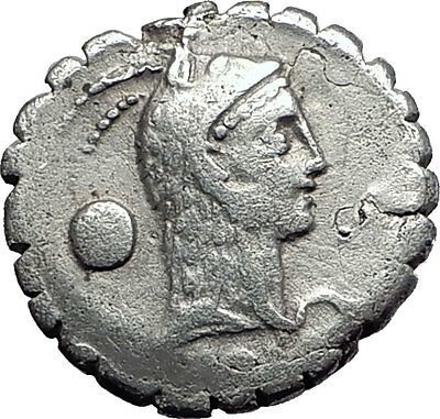 Roman Republic Rome 64BC Lanuvium Juno Temple Virgin Serpent Silver Coin i57865