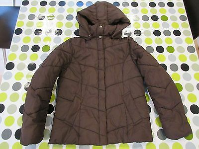 Next Girls Brown padded winter coat with detachable hood 9-10 years 140cm