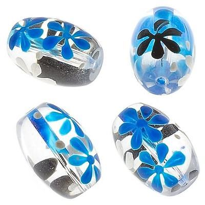 BBB593 6 INDIAN HAND PAINTED CYLINDRICAL GLASS BEADS 30 x6mm CLEAR//SILVER//GOLD