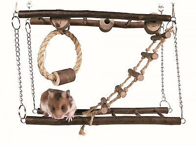 Hamster Mouse Gerbil Cage Natural Wood Small Pet Hanging Suspension Bridge Toy
