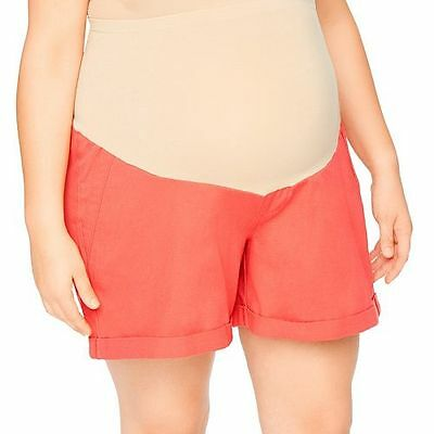 NWT Oh Baby Motherhood Maternity Orange Coral Shorts Plus Size 1X 2X 3X