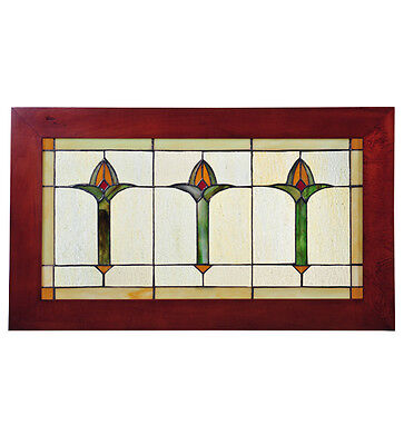 "Meyda 97961 24""W X 14""H Arts & Crafts Bud Trio Wood Frame Stained Glass Window"
