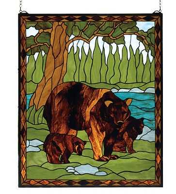 "Meyda 72935 25""W X 30""H Brown Bear Stained Glass Window"