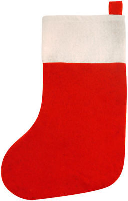 Red Felt Christmas Stocking - 41cm - Santa Party Present Toy Bag
