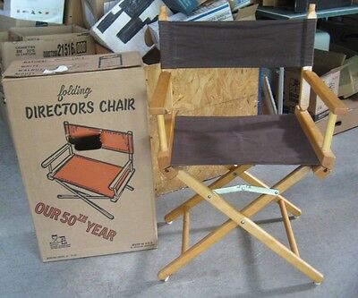 Folding Directors Chair NIB Bowling Green Chair Co. made in USA Wood & Canvas