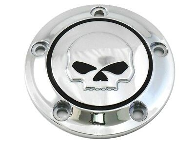 Chrome Willie G Skull Points Ignition Cover 1999-16 Harley Twin Cam