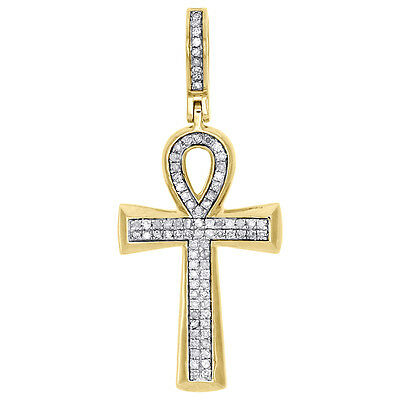 "10K Yellow Gold Real Diamond Egyptian Ankh Cross Pendant 1.50"" Pave Charm 1/4 CT"