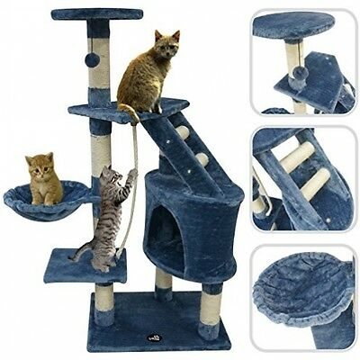 Cat Tree With Blue Scratching Post ? Scratching Post Made Of Natural Sisal