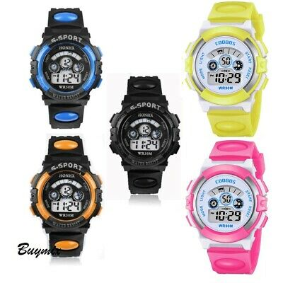 Digital Sport Wrist Watch Led Light Alarm Date Children Kids Boy's Girl's Gift