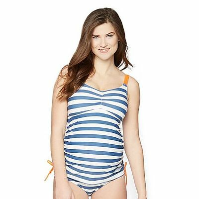 NWT Oh Baby by Motherhood Maternity 2 Piece Swimsuit Tankini Blue White Stripe S