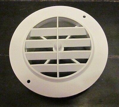 "4"" WHITE Round Rotaire Grille Heat AC Air Duct Outlet Vent 3840WH RV Trailer"