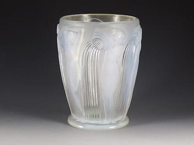 "RENE LALIQUE ""DANAIDES"" CRYSTAL VASE 7 1/4"" c.1926 - NUDE MAIDENS POURING WATER"