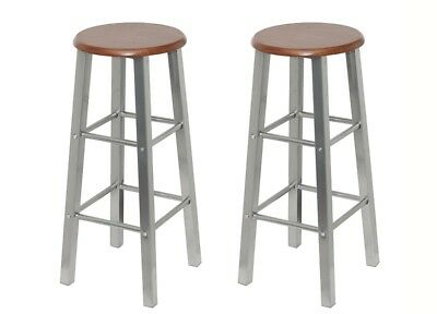 New 2x Bar Stool Set Kitchen Dining Chair MDF Timber Seat Steel Swivel Footrest