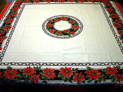 "Vintage Poinsettia and Holly Christmas Tablecloth 52"" Square"
