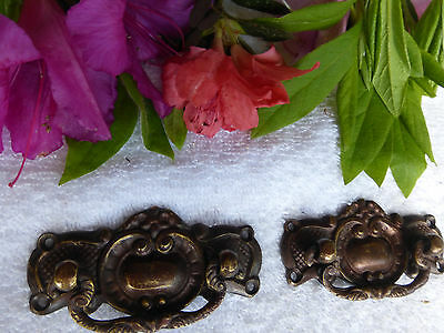 TWO Fancy Cast bronze/brass Art Deco Decorative drawer pulls ITEM #16