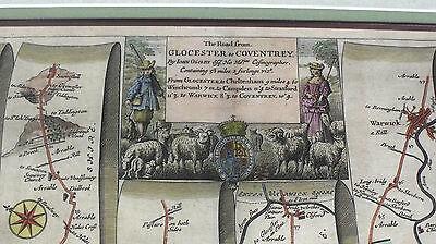 Original 1675 John Ogilby Map - The Road From Gloucester To Coventry England