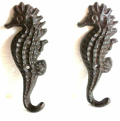 New Cast Iron Seahorse Nautical Hook Hanger Decor - Saltwater Decor - 1 Pair