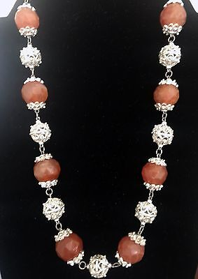 Egyptian Carnelian Beads And Silver Accessory Great Gift