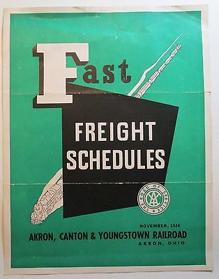 Akron Canton Youngstown Railroad 1946 Freight Schedules