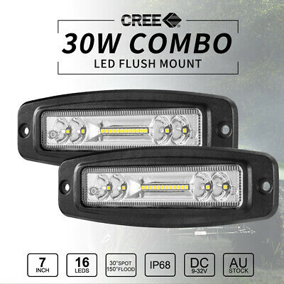 Pair 30W 7inch CREE Flush Mount LED Work Light Bar FLOOD Reverse Fog Lights