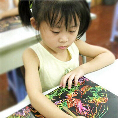 16K Colorful 5 Sheet Kids Scratch Art Paper Magic Painting Paper Drawing Toy