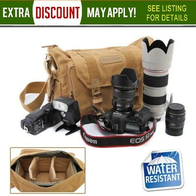Canvas DSLR SLR Camera Messenger Shoulder Case Waterproof Bag For Canon Nikon