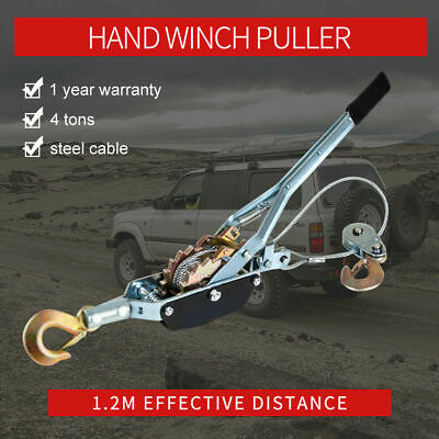 4 Tons Steel Cable Hand Winch Puller 2Hooks 4X4WD Truck Car Trailer Hoist Boat