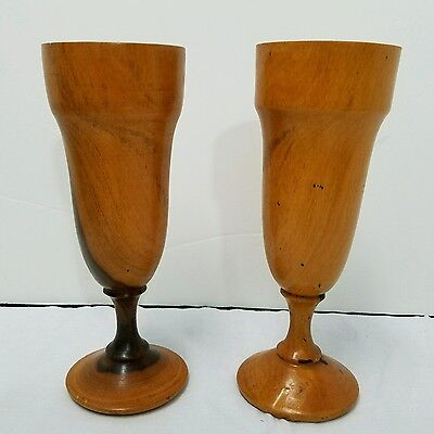 "2 Vintage Wooden Hand Turned Goblets 8"" Tall"