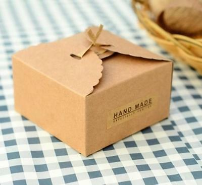 12x Plain Kraft Paper DIY Cake Candy Gift Box for Xmas Wedding Party Favors