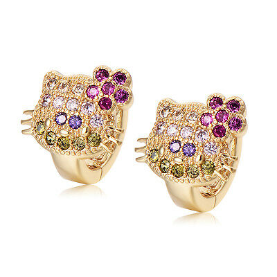 Cute Babys Little Girls Cat Yellow Gold Plated Crystal Hoop Earrings Jewelry