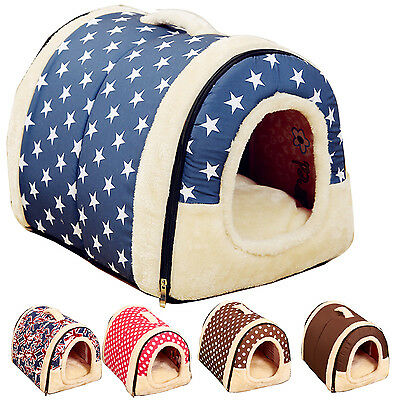 Cute Snug Pet Dog Puppy Portable Plush House Cat Kitten Kennel Mat Bed Warm Nest