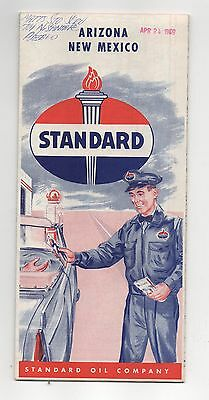 Vintage 1959 STANDARD OIL CO Map of Arizona and New Mexico