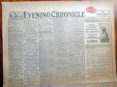 Ww1 Evening Chronicle April 18 1918 Original Newspaper - Changes To Uk Cabinet