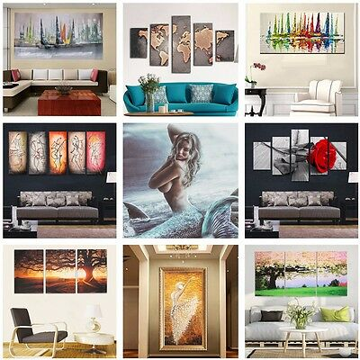Modern Canvas Oil Painting Abstract Flower Boat Tree Home Wall Decor Unframed