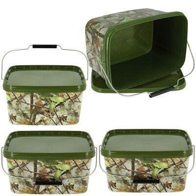 3 X Square 5L Camo Bait Buckets For Boilies Pellets Carp Coarse Fishing Tackle