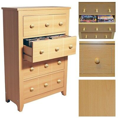 Media Storage Cabinet Beech Wood Drawers Unit DVD CD Cupboard Home Furniture NEW