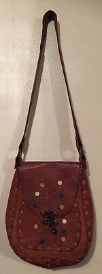 Genuine Vintage Tooled Leather Bag With Hand painted Flowers