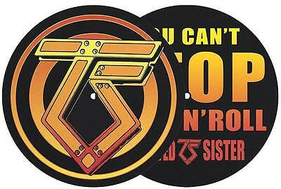 TWISTED SISTER DJ SLIPMAT FILZMATTE LOGO YOU CAN'T STOP ROCK 'N' ROLL - 2er SET