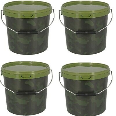 4 X Round 10L Camo Bait Buckets For Boilies Pellets Carp Coarse Fishing Tackle