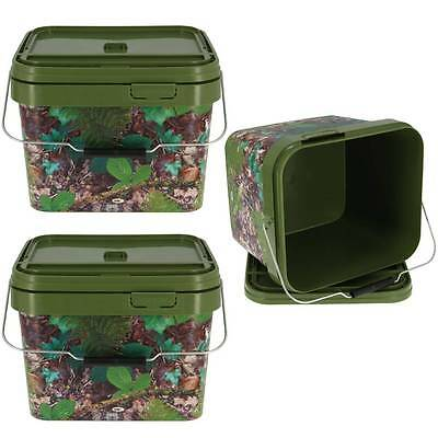 3 X Square 10L Camo Bait Buckets For Boilies Pellets Carp Coarse Fishing Tackle
