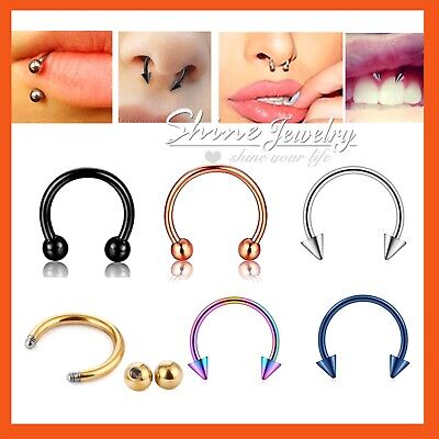 Horseshoe Ring Hoop Ball Bar Cartilage Septum Helix Tragus Earring Nose Piercing