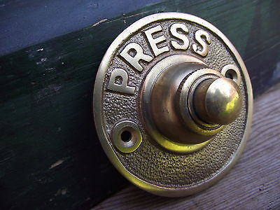 Vintage Style Brass Door Bell press push box pull knob knocker buzzer round