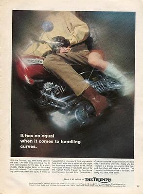 "1969 Triumph Motorcycle Vtg Print Ad ""no Equal When It Comes To Handling Curves"""
