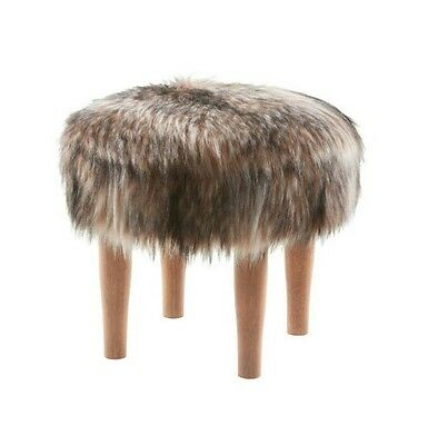 Threshold Racoon Faux Fur Accent Footstool Ottoman w/ Wood Legs