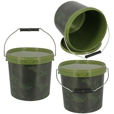 1 X Round 5L Camo Bait Bucket For Boilies Pellets Carp Coarse Fishing Tackle